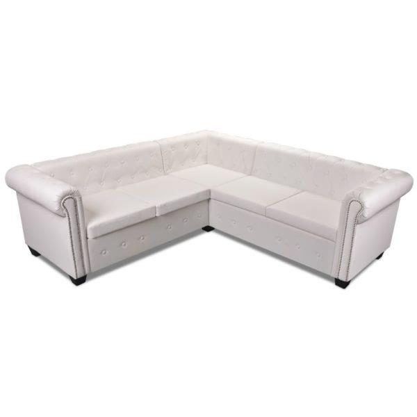 Chesterfield Sofa 5-Sitzer Kunstleder Weiß