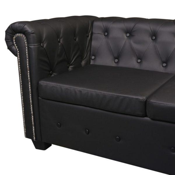 Chesterfield Sofa 5-Sitzer Kunstleder Schwarz