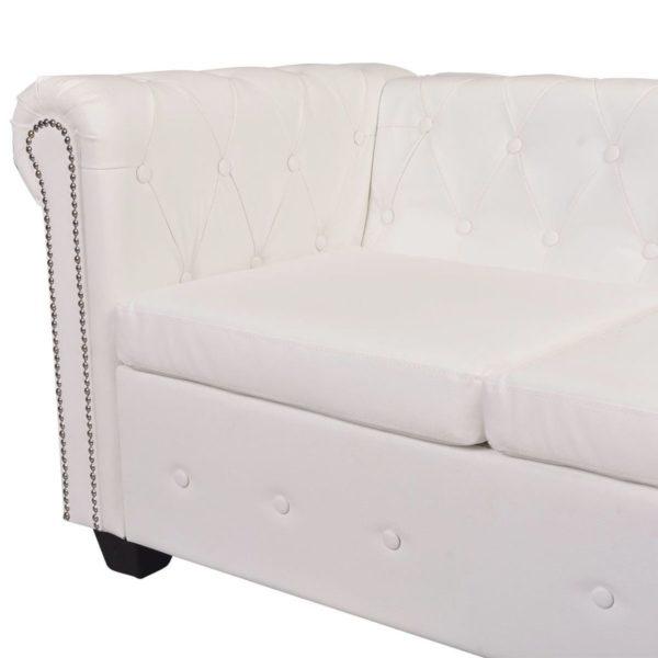 Chesterfield Ecksofa 6-Sitzer Kunstleder Weiß