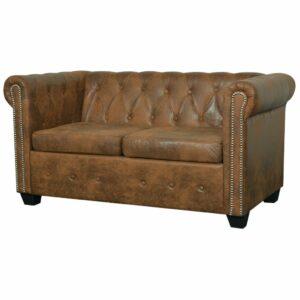 Chesterfield Sofa 2-Sitzer Kunstleder Braun
