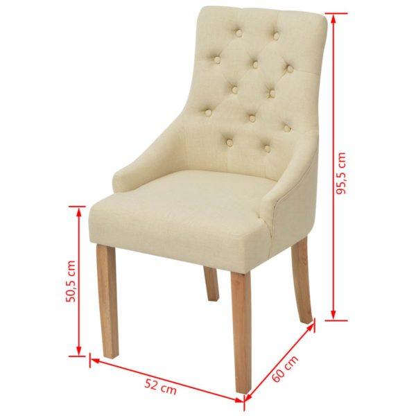 Esszimmerstühle 2 Stk. Creme Stoff