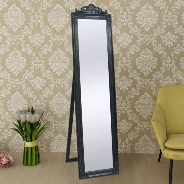 Standspiegel im Barock-Stil 160×40 cm Schwarz