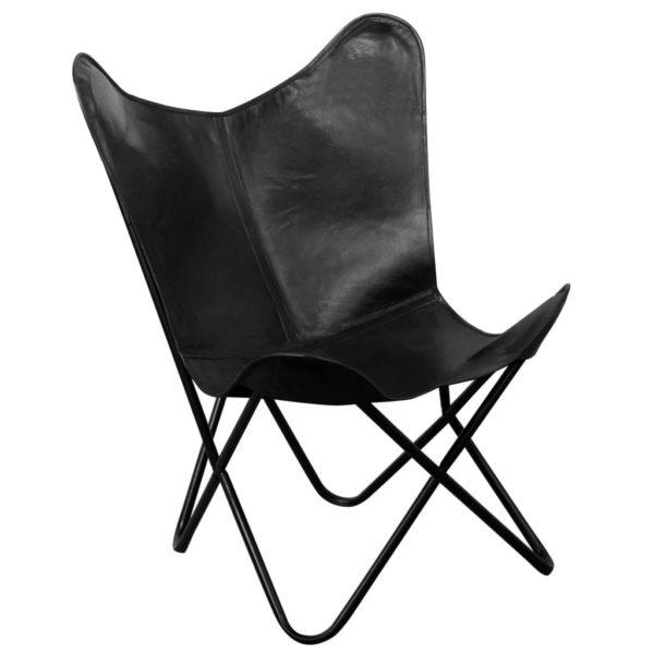 Butterfly-Sessel Schwarz Echtleder
