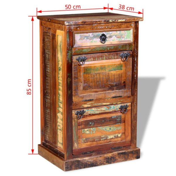 Schuhschrank mit Schublade und 4 Fachböden aus massivem Altholz