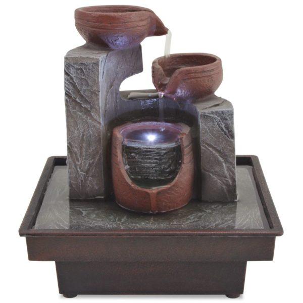 Zimmerbrunnen mit LED Polyresin