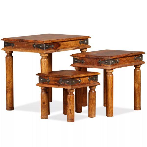 Schachteltisch-Set 3 Stk. Massivholz Braun