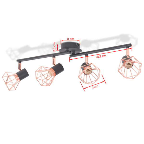 Deckenleuchte mit 4 Strahlern E14 Schwarz und Kupfer