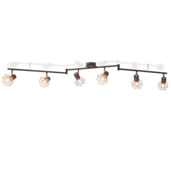 Deckenleuchte mit 6 Strahlern E14 Schwarz und Kupfer