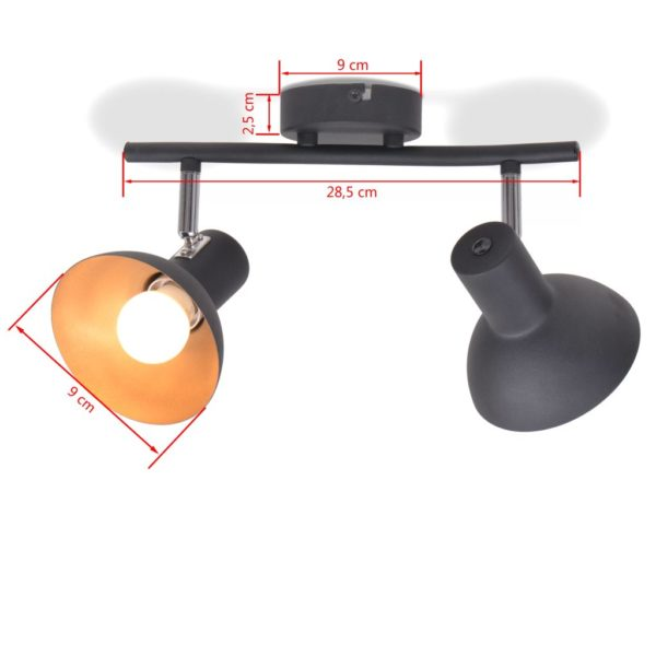 Deckenlampe für 2 Glühbirnen E27 Schwarz und Gold