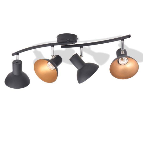 Deckenlampe für 4 Glühbirnen E27 Schwarz und Gold