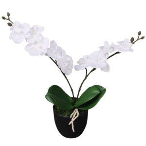 Künstliche Orchidee mit Topf 30 cm Weiß
