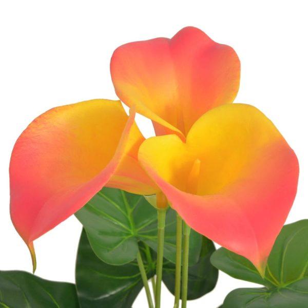 Künstliche Calla-Lilie mit Topf 45 cm Rot und Gelb