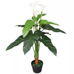Künstliche Calla-Lilie mit Topf 85 cm Weiß