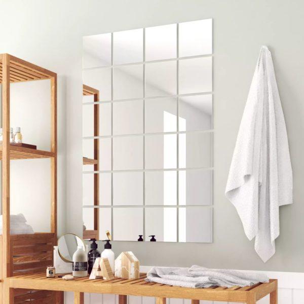 24-tlg. Spiegelfliesen-Set Quadratisch Glas