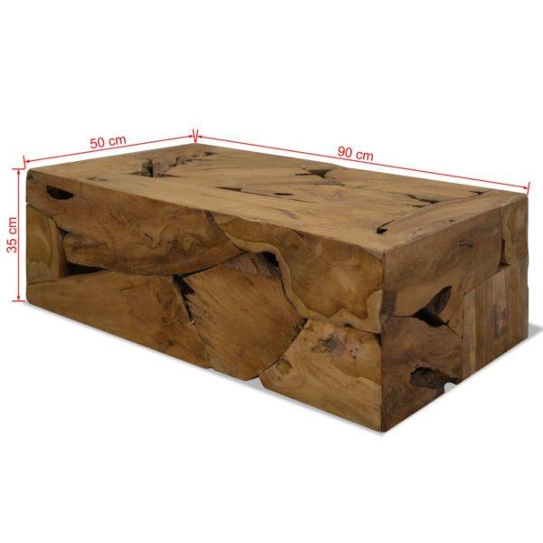 Couchtisch Echtholz 90 x 50 x 35 cm Braun