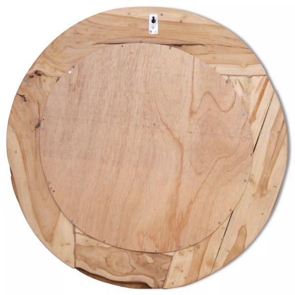 Dekorativer Spiegel Teak 80 cm Rund