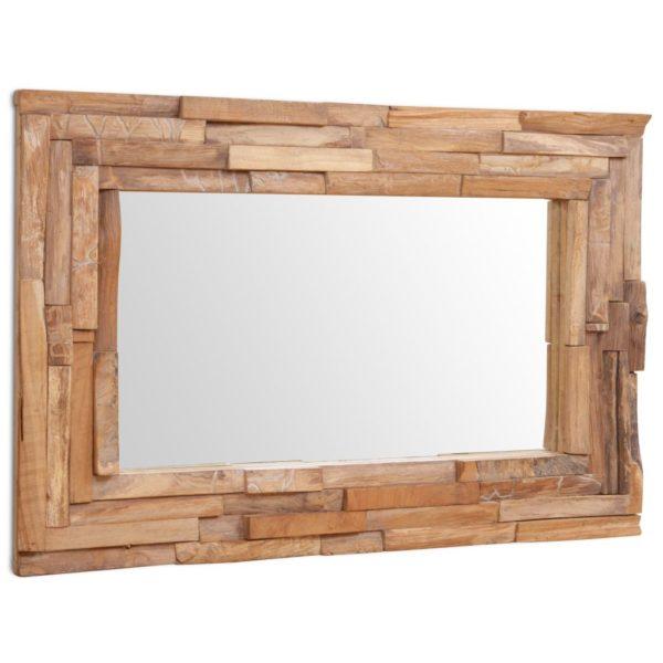 Dekorativer Spiegel Teak 90 x 60 cm Rechteckig