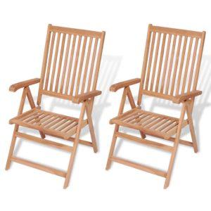 Verstellbare Gartenstühle 2 Stk. Massivholz Teak