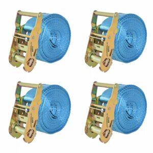 Ratschen-Spanngurte 4 Stk. 2 Tonnen 6m×38mm Blau