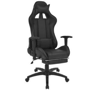 Neigbarer Racing-Bürostuhl mit Fußstütze Schwarz