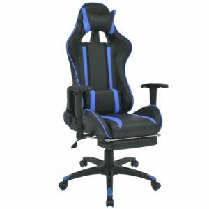 Neigbarer Racing-Bürostuhl mit Fußstütze Blau