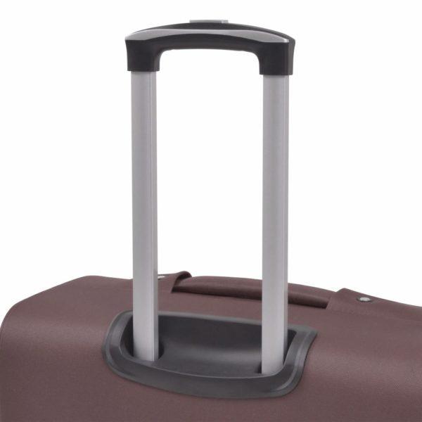 3-tlg. Weichgepäck Trolley-Set Kaffeebraun