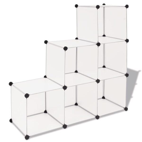 Regalsystem Würfel-Regal mit 6 Fächern Weiß
