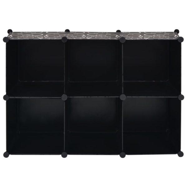 Regalsystem Würfel-Regal mit 6 Fächern Schwarz