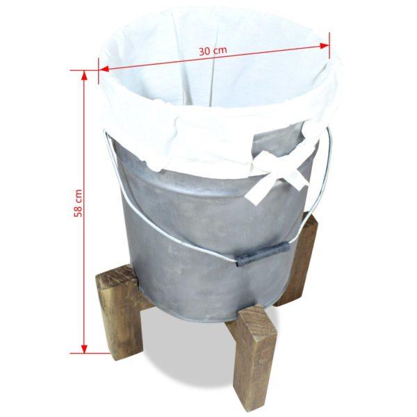 Wäschekorb Eisen Verzinkt Altholz Massiv 30 x 30 x 58 cm
