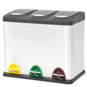 Recycling Mülleimer Tretabfalleimer Edelstahl 3 x 8 L