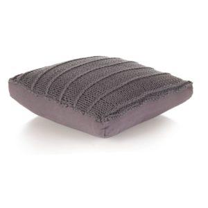 Bodensitzkissen Quadratisch Gestrickt Baumwolle 60 x 60 cm Grau