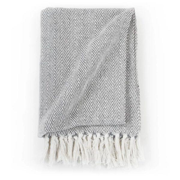 Überwurf Baumwolle Fischgrätmuster 220 x 250 cm Grau