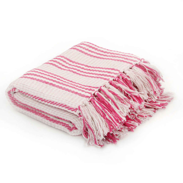Überwurf Baumwolle Streifen 125 x 150 cm Rosa und Weiss