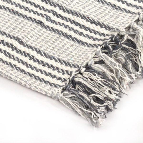 Überwurf Baumwolle Streifen 160 x 210 cm Grau und Weiss