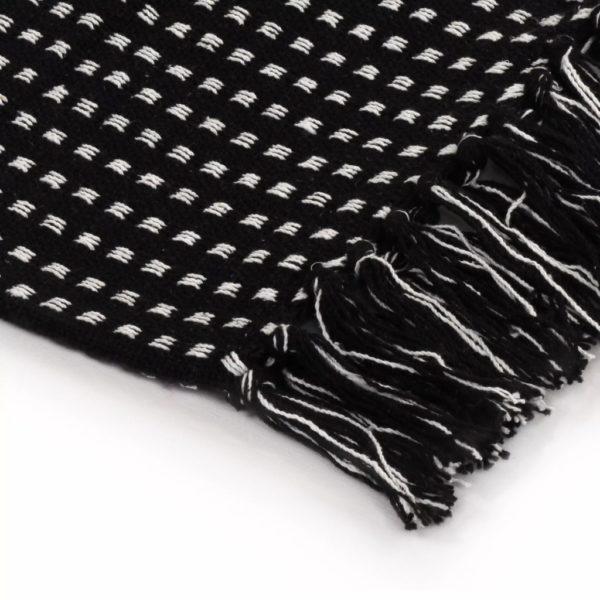 Überwurf Baumwolle Kariert 125 x 150 cm Schwarz