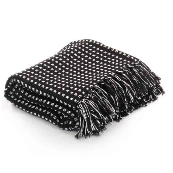 Überwurf Baumwolle Kariert 220 x 250 cm Schwarz