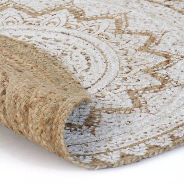 Teppich Jute Geflochten Bedruckt 90 cm Rund