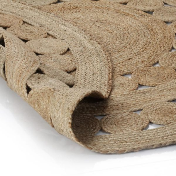 Teppich Flechtmuster Jute 90 cm Rund