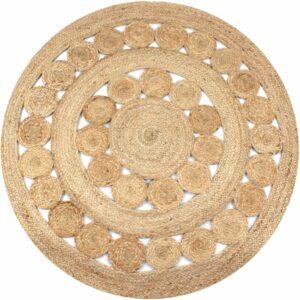 Teppich Flechtmuster Jute 150 cm Rund