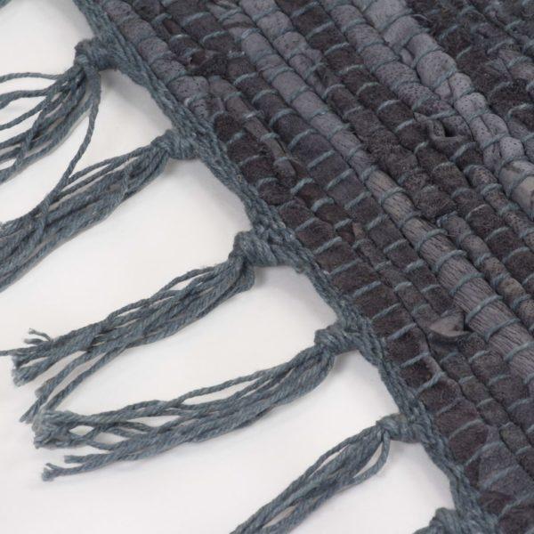 Handgewebter Chindi-Teppich Leder 160×230 cm Grau