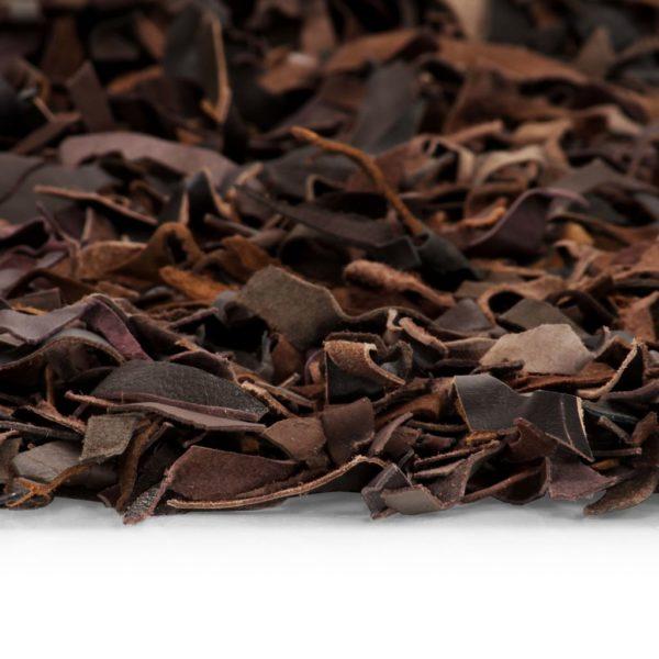 Shaggy-Teppich Echtleder 120 x 170 cm Braun