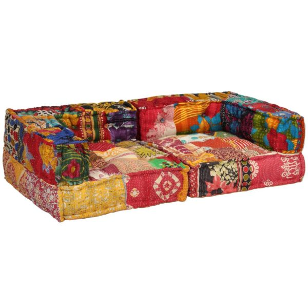 2-Sitzer Modulares Sofa mit Armlehnen Stoff Patchwork