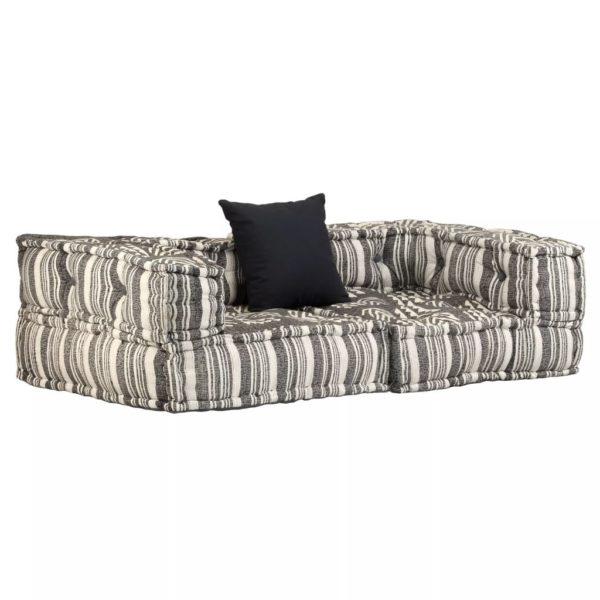 2-Sitzer Modulares Sofa mit Armlehnen Stoff gestreift