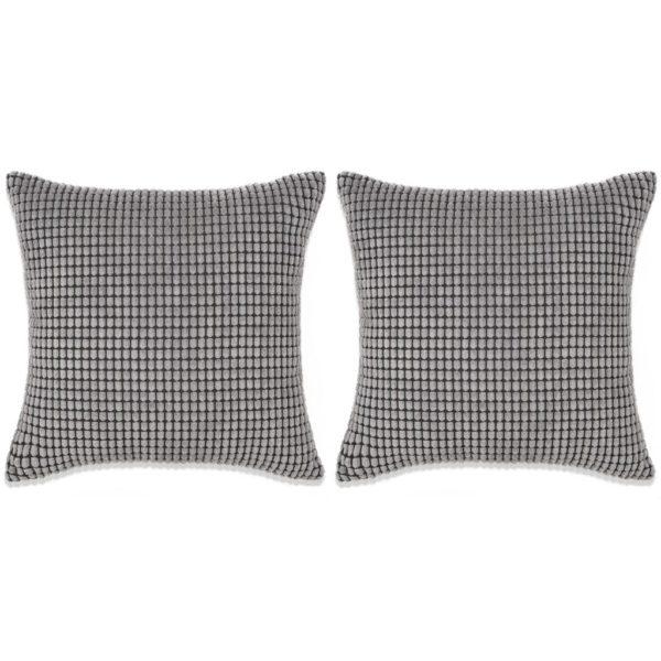 Kissen-Set 2 Stk. Velours 60 x 60 cm Grau