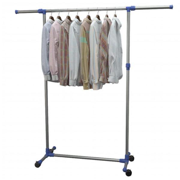 Verstellbarer Kleiderständer Edelstahl 165x44x150 cm Silber