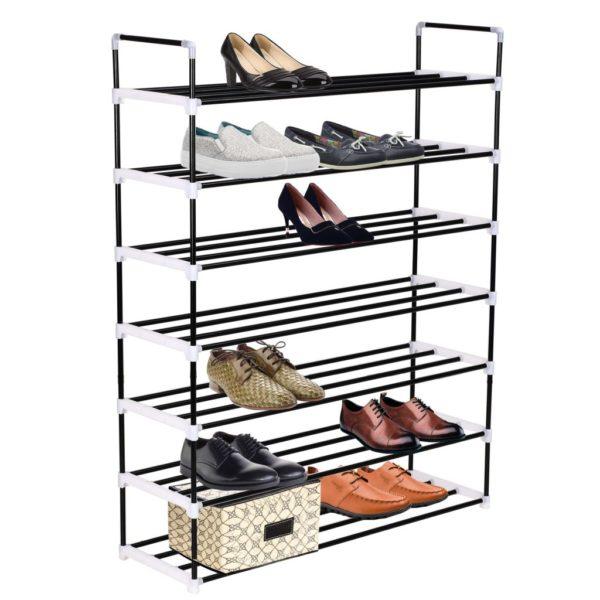Schuhregal mit 7 Etagen Metall und Kunststoff Schwarz