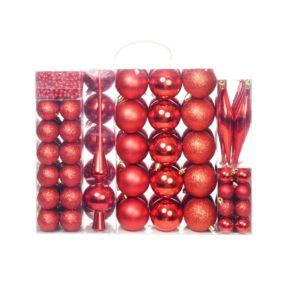 113-tlg. Weihnachtskugel-Set 6 cm Rot