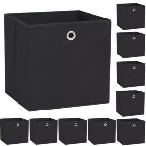 Aufbewahrungsboxen 10 Stk. Vliesstoff 32 x 32 x 32 cm Schwarz