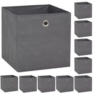 Aufbewahrungsboxen 10 Stk. Vliesstoff 32 x 32 x 32 cm Grau