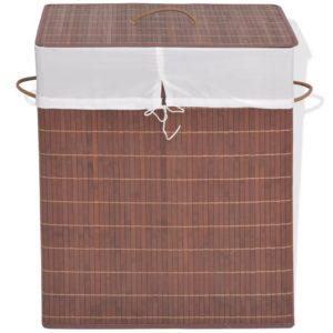 Bambus-Wäschekorb Rechteckig Braun